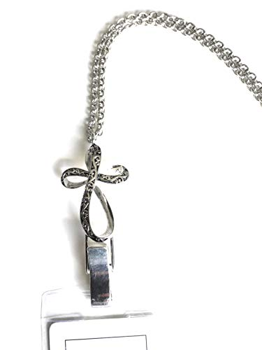 Itsalotalike Antique Cross Lanyard/Badge/Id Holder Silver Tone ()