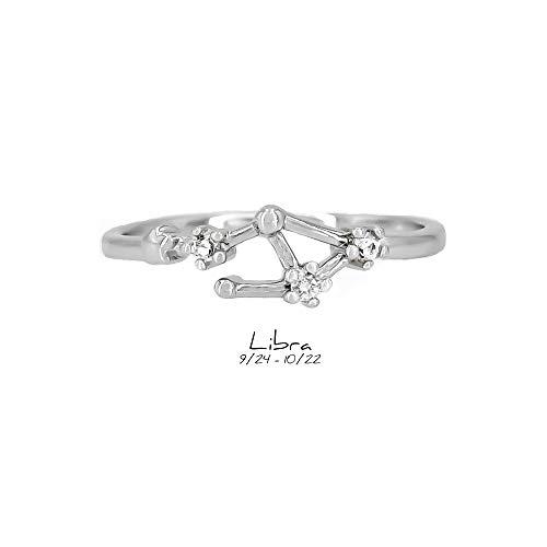 Libra Zodiac (Choice by Choi Zodiac Constellation Ring Cubic Zirconia Stones Made Zinc, Steel, Brass (Libra & Silver))
