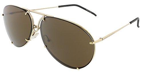 Porsche Designs Sunglasses A Gold Brown/Brown with Gold Mirror 63 12 140