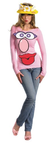 Disguise Women's Hasbro Game Mr. Mrs. Potato Head Costume Kit, White/Pink/Red/Grey, One Size