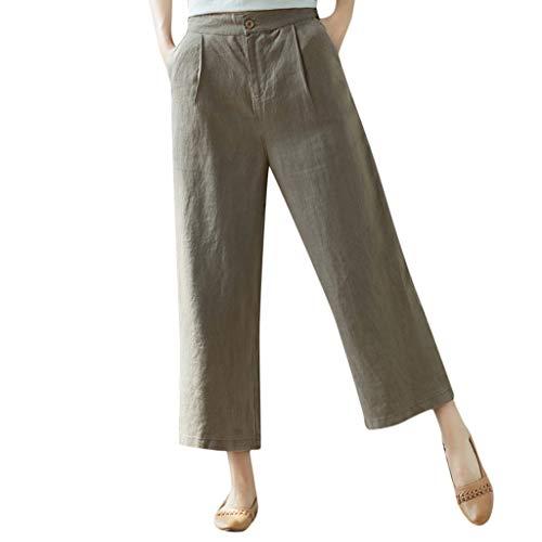 (QueenMMWomen's Super Comfy Solid Cotton Linen Wide Leg Pants Casual Loose Breathable Cropped Pants Khaki)