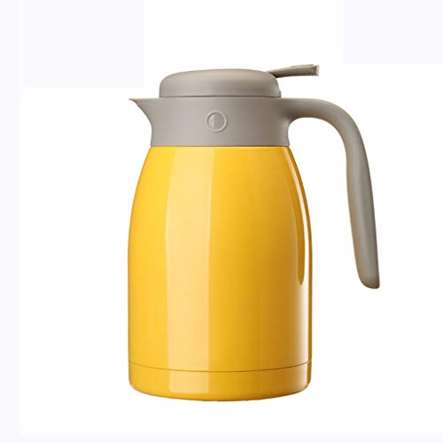 ZHHL Vacuum Insulation Pot,1.5L 304 Stainless Steel Home Use for Coffee Tea Milk Stock Double Wall Insulated Hot Cold (color : - Carafe Yellow Insulated