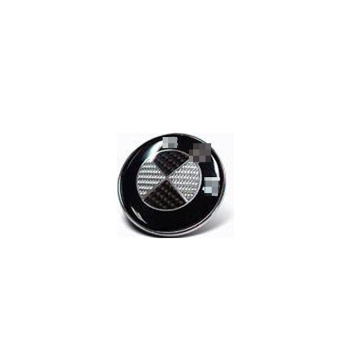 1pcs Round Replacement Black White Carbon 44mm Round Emblem Center For Steering Wheel Replacement Logo Badge Fit For German Wheel Car Model ()