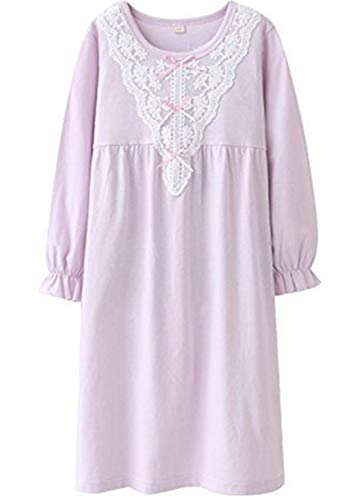 HOYMN Toddler Girl Nightgown, Purple Princess Cotton Pajamas Night Gowns for Girls 5-6 Years]()