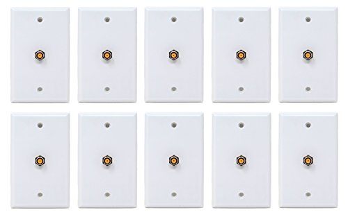 Best Connections 10 Pcs White Coax Cable 3 Ghz Satellite Wall Plate UL Certified DIRECTV Approved