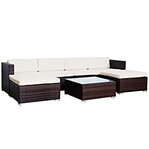 Evre Rattan Outdoor Garden Furniture Set 6 Seater Sofa with Coffee Table (Brown)