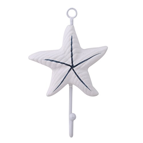 Yunzee Art Hook Beach Themed Wall Hanger Sailboat Scallop Fish Starfish Lighthouse Seabird Shape Towel Hat Decorations Hooks,Starfish -