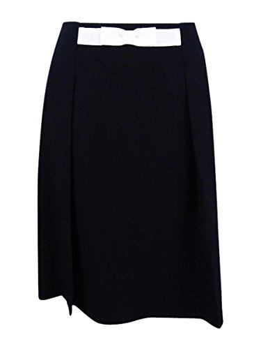 Tahari ASL Women's Bow-Waist A-Line Skirt (8, Black/Ivory)