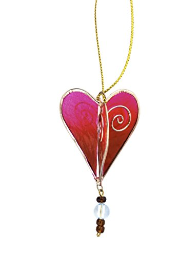 Fair Trade Acacia Capiz Shell Red Heart Handcrafted Ornament