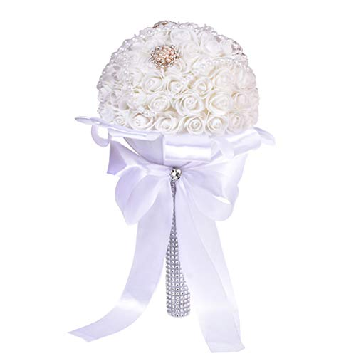 Artificial Flower - Crystal Roses Fake Flowers - Romantic Bouquet Floral - for Bridal Hydrangea Wedding Party Home Decorations -Indoor/Outdoor Decor Gifts (B)