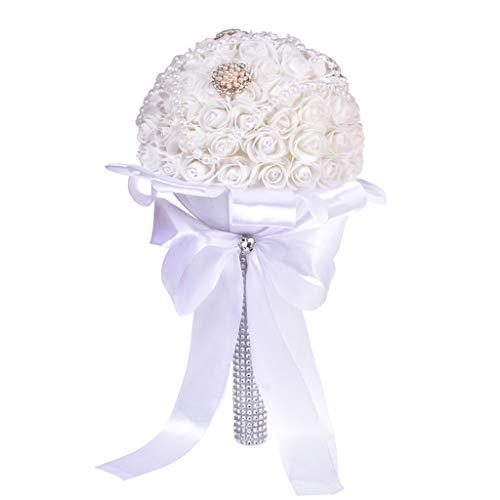 Ktyssp Crystal Roses Bridesmaid Wedding Bouquet Bridal Artificial Silk Flowers Decor (B)