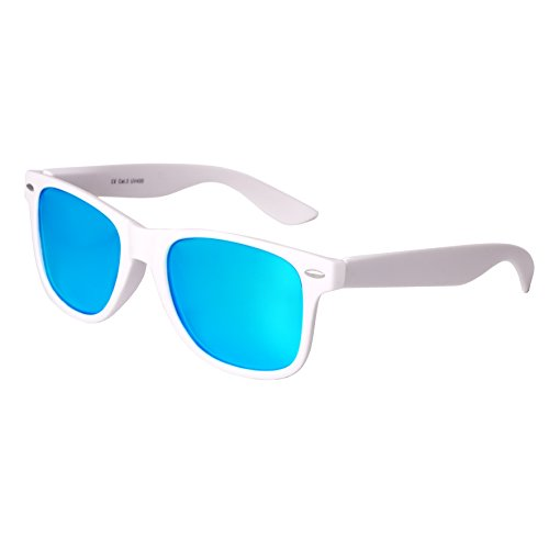 Nerd Sunglasses Matt Rubber Style Retro Vintage Unisex Glasses Spring Hinge Black - 24 Different Models (White-Turquoise, - Wayfarers White