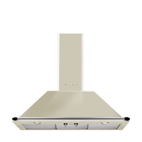 "Smeg KT90PU 36"" Wall Mount Chimney Range Hood with 600 CFM and 4 Fan Speeds, Cream 1"