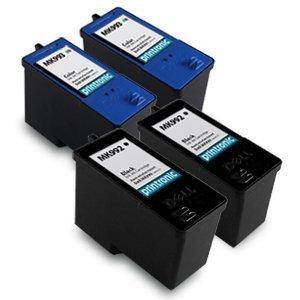 (4 Pack (2BK,2C) Remanufactured Dell (Series 9) MK992 Black and MK993 Color Ink Cartridges for Dell 926, V305, V305W Printers)