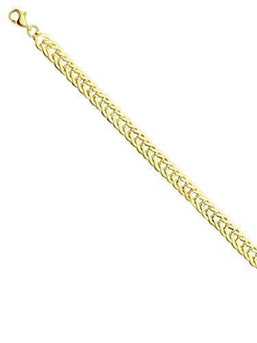 - 14k Yellow Gold Flat Foxtail Link Bracelet with Rounded Lobster Clasp