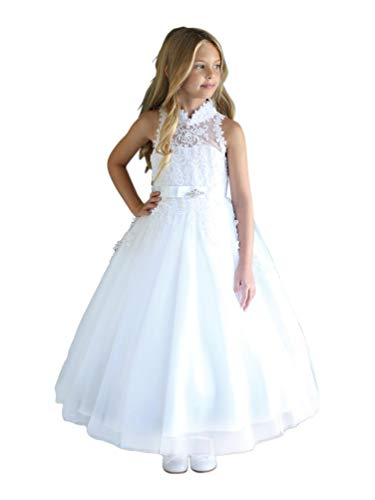 Angels Garment Big Girls White High-Neck Sleeveless Sequin Communion Dress 14