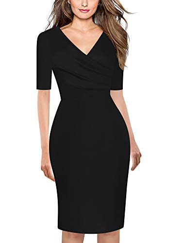 oxiuly Women's Casual Criss-Cross Necklines Short Sleeve Work Business Pencil Sheath Dress OX286 (Black Solid, XL)
