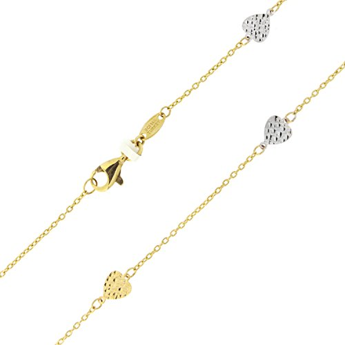 14k Yellow and White Rose Gold Two-Tone Diamond-Cut Heart Adjustable Anklet - 9'' - 10'' by Beauniq
