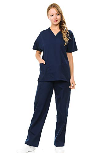 Scrub Top Gold (Womens and Mens Scrubs Set - Unisex Medical Uniform V Neck Short Sleeves Top and Drawstring Pants with Pockets Small Navy)