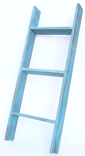 BarnwoodUSA Rustic 3 Foot Bookcase Ladder - 100% Reclaimed Wood, Turqouise