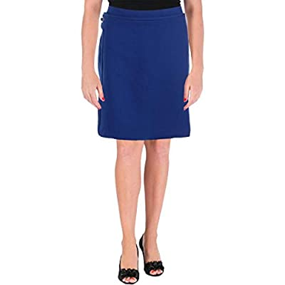 Tory Burch Womens Jane Wool Blend Faux Wrap A-Line Skirt