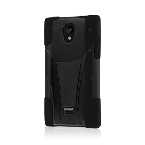Sharp Aquos Crystal Case (306SH), MPERO IMPACT X Series Dual Layered Tough Durable Shock Absorbing Silicone Polycarbonate Hybrid Kickstand Case for Aquos Crystal Precise Port Cut Outs - Black -