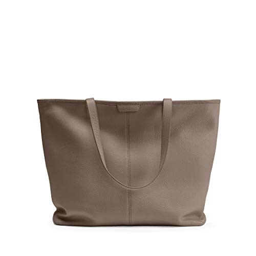 Large Zippered Downtown Tote - Full Grain Leather Leather - Taupe (Beige)