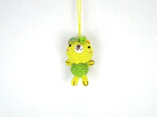 Yellow Bear - Petite Crochet Animal Hand-Made Knit & Stitch Key Chain & Charm - For Girls & Woman Petite Stitch