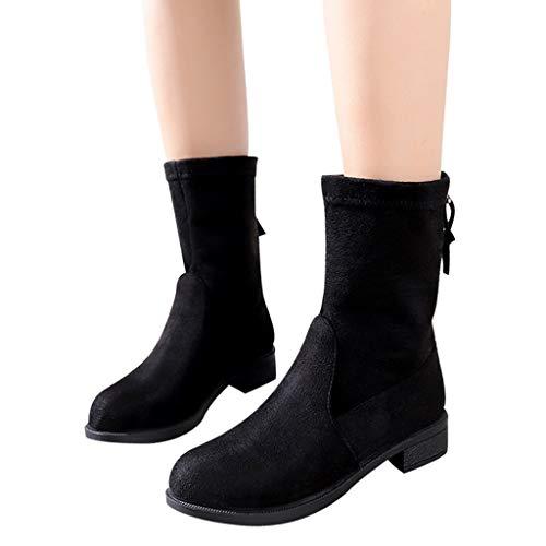 Clearance Shoes Mid-Calf Boots - OverDose Women Flock Boots Flat Low Zipper...