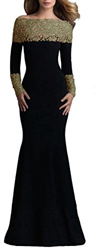 - made2envy Boat Neck Mermaid Long Sleeves Lace Decorated Evening Gown (L, Green) V1020LG