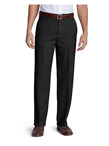 Eddie Bauer Men's Relaxed Fit Flat-Front Wool Gabardine Trousers, Black Regular