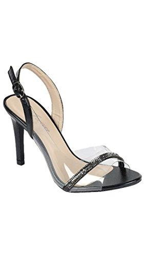 Forever Royal-03 Women's Clear Upper Rhinestone Sling Back Stiletto Heel Sandals (7, Black) (4 Inch Stiletto Heel Slingback Sandal)