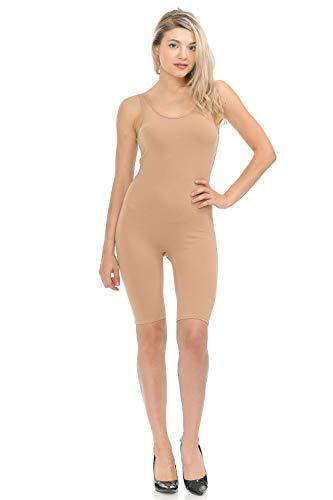7Wins JJJ Women Catsuit Cotton Lycra Tank Bermuda Short Yoga Bodysuit Jumpsuit (Medium, Khaki) ()