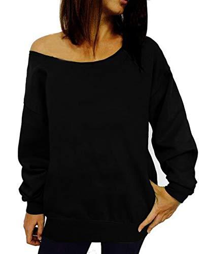 GSVIBK Womens Black Sweatshirts Off Shoulder Sweatshirt Long Sleeve Slouchy Shirts Letter Printed Sweatshirt
