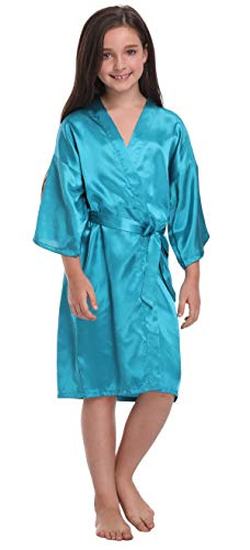 - Flower Girl Satin Kimono Robes Basic Style Bathrobes for Wedding Spa Birthday,Teal Blue,6