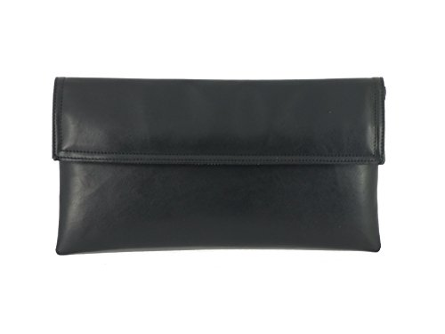 Bag Adjustable with Strap Shoulder Womens Faux Loni Chic Long Leather Clutch Black nzTqA1wY