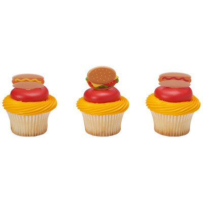 24 Pack BBQ Grilling Hot Dog Hamburger Cupcake Picks Cake Toppers