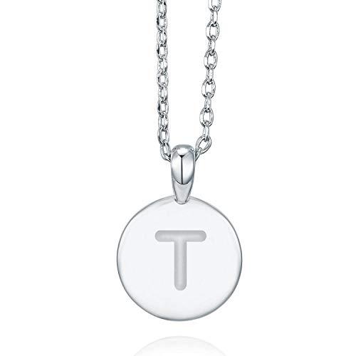 Mongram Letter - PAVOI 14K White Gold Plated Letter Necklace for Women | Gold Initial Necklace for Girls | Letter T