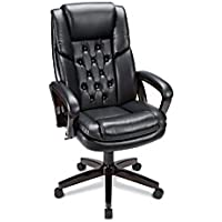 Realspace(R) Caldwell Executive High-Back Bonded Leather Chair, Black