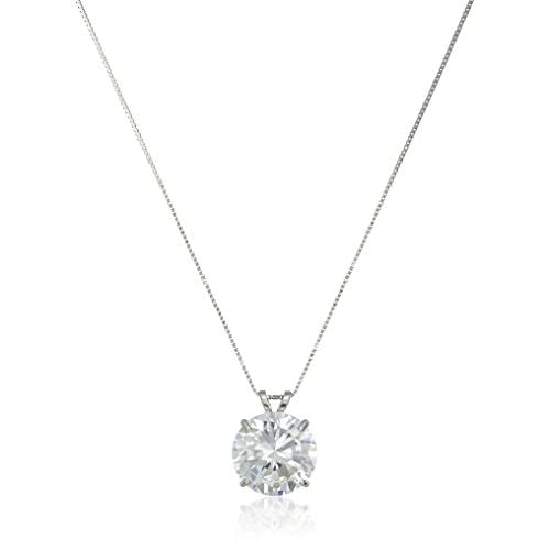 14k White Gold 10mm Round Cubic Zirconia Solitaire Pendant Necklace (3.75 carat, Diamond Equivalent), 18""