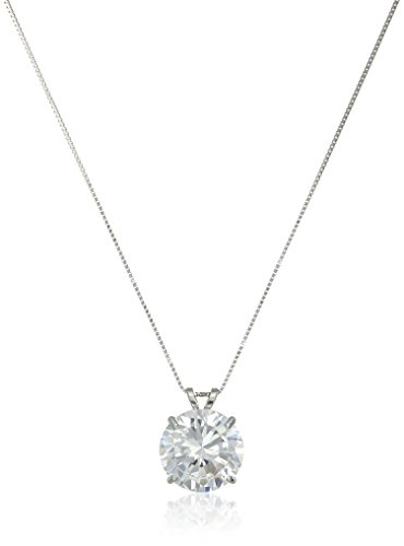 14k White Gold 10mm Round Cubic Zirconia Solitaire Pendant Necklace (3.75 carat, Diamond Equivalent), 18
