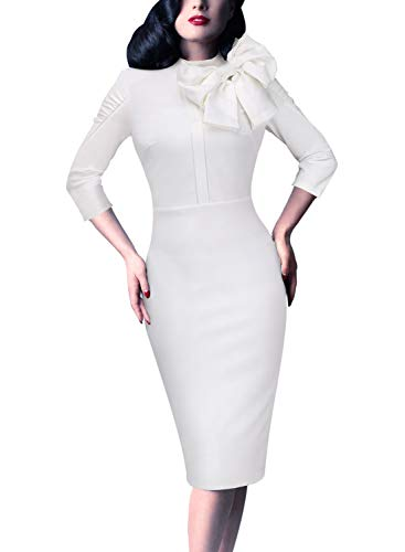 - VFSHOW Womens Celebrity Vintage Bowknot Cocktail Party Stretch Bodycon Dress 1069 WHT S