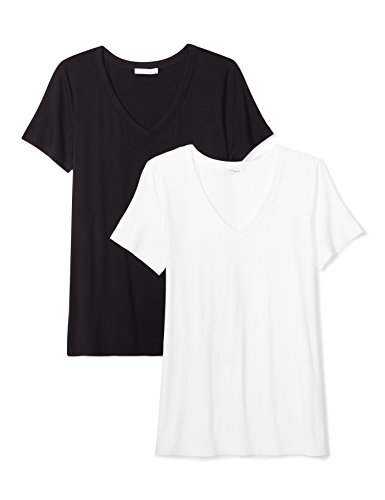 Amazon Brand - Daily Ritual Women's Jersey Short-Sleeve V-Neck T-Shirt, Black/White,Large