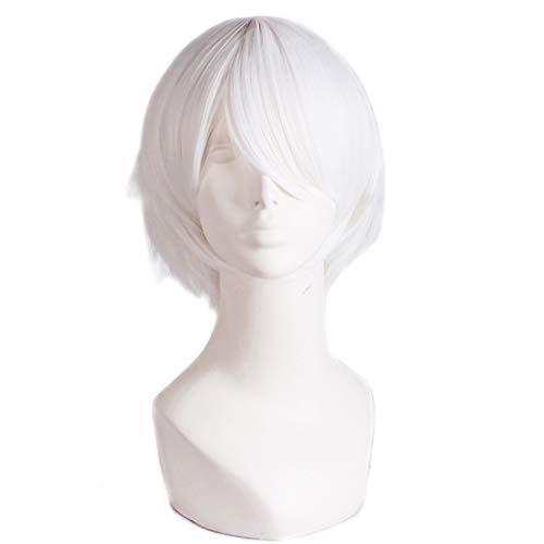 Short Straight Fashion Wigs White 30cm Cosplay High Temperature Fiber Wigs,White,12inches,United States