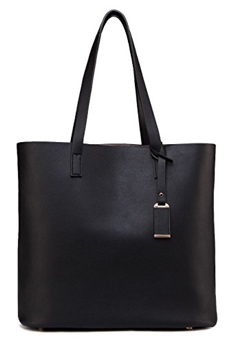 - ilishop PU Leather Handbag Designer Pure Color Pures, Large Capacity Shoulder Bag, Classical Tote Bags (Black)