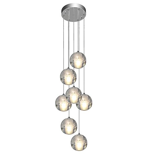Pendant Light LED Contemporary Pendant lamp Pendant lamp Height Adjustable Chandelier Suitable for Living Room Dining Table Stairs Bedroom Ceiling lamp Hanging lamp (7 ()