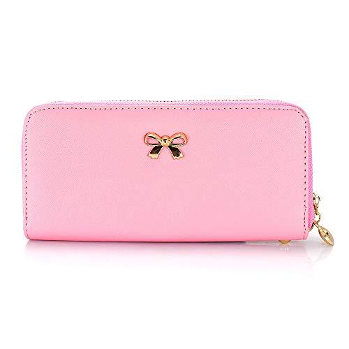 GEARONIC TM Women Wallet Long Clutch Faux Leather Card Holder Fashion Hand Purse Lady Woman Handbag Bag Pink