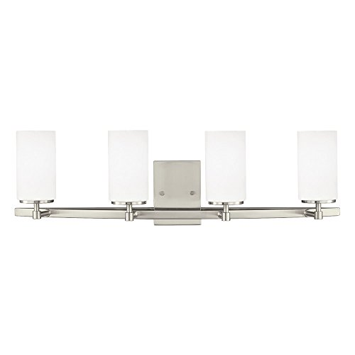 Brushed Nickel Shade Finish - Sea Gull Lighting 4424604-962 Alturas Four Bath or Wall Fixture with Etched White Inside Glass Shades, Brushed Nickel Finish
