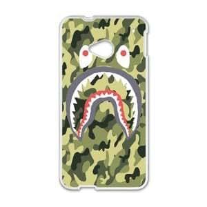 Bape Shark Army Military Texture ,TPU Phone case for HTC One M7,white,16002FELAO