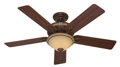 Hunter 53134 Aventine 52-Inch Cocoa with Spanish Gold Accents Ceiling Fan with Five Dark Walnut/Cherried Walnut Blades and Light Kit - Gold Finish Ceiling Fans